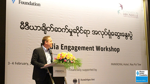 Resident Representative Achim Munz from Hanns Seidel Foundation Myanmar welcoming the participants of the Media Engagement Workshop in Nay Pyi Taw.