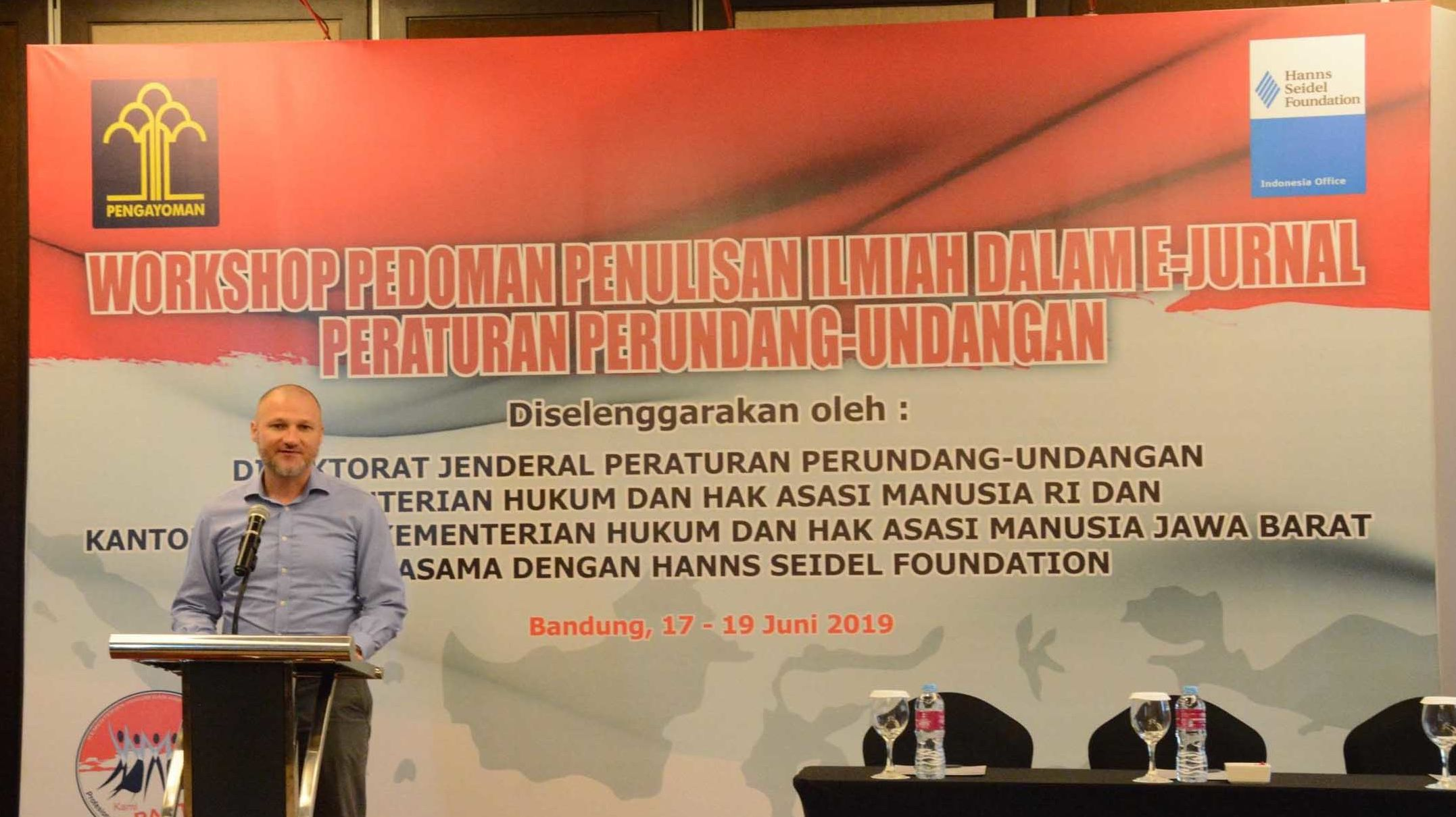 Dr. Daniel Heilmann, Resident Representative of HSF Indonesia, delivers the opening remarks