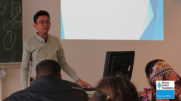 Aung Soe Min during his presentation at the 2018 Winter School in Innsbruck.