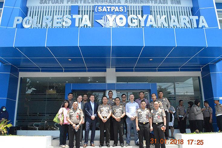 Participants at the Metro Yogyakarta City Police Station