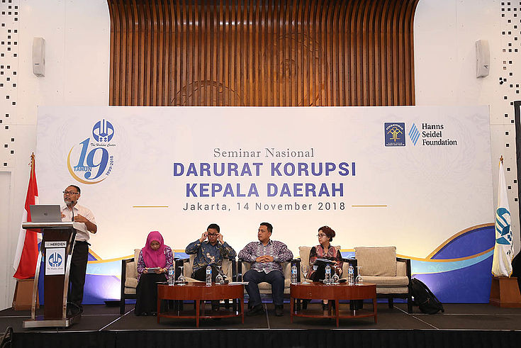 The expert panel discussing corruption on the level of local governments in Indonesia.