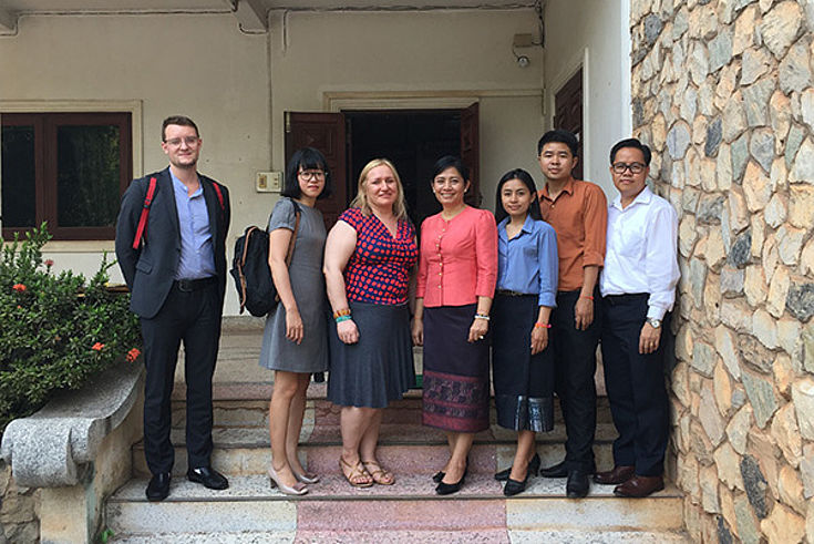 Meeting with Madame Phetsamone Sone (fourth from the left), Deputy Head, Lao Statistic Bureau