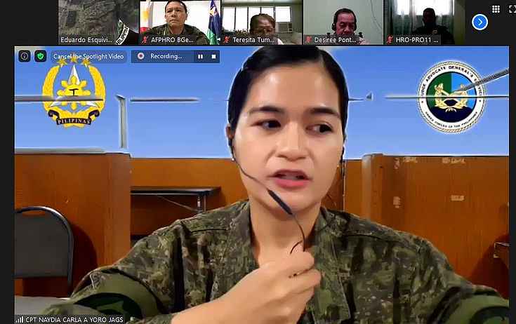 "Captain Naydia Carla Yoro JAGS gives a briefing on the newly-signed ""Anti-Terrorism Law of 2020"""