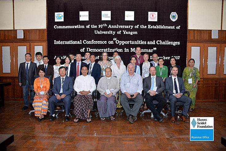 """Representatives of the responsible organisations and academic experts of the International Conference on """"Opportunities and Challenges of Democratization in Myanmar"""""""