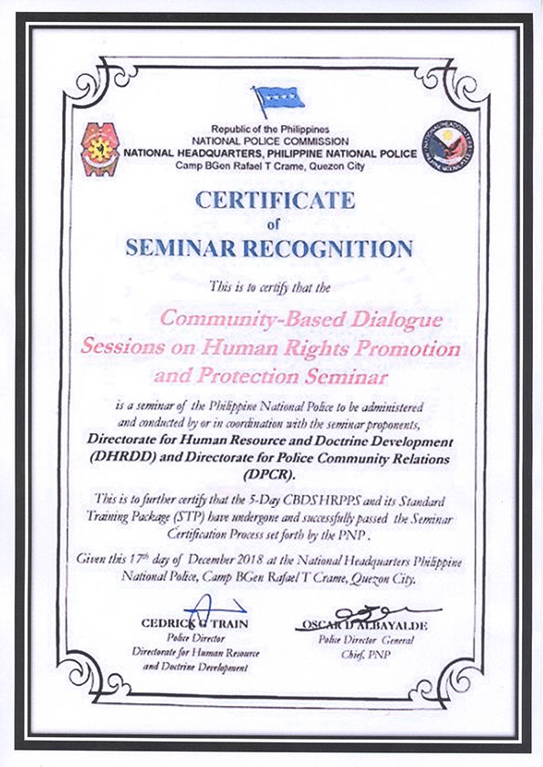 Certificate of Seminar Recognition